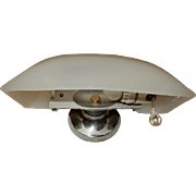 Milk-glass Deco Bath Sconce on Original Nickel Plated Cast Bronze Backplate-----Lightolier