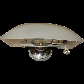 Milk-glass Deco Bath Sconce on Original Nickel Plated Cast Bronze Backplate-----Lightolier