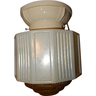 Circa 1920s Deco Bathroom Kitchen Shade on Porcelain Lighting Fixture
