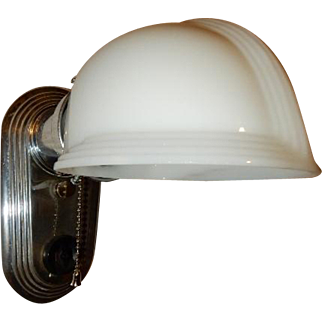 Very Art Deco Nickel Plate Streamlined Wall Sconce with Original Milk Glass Deco Shade