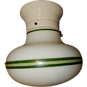Green Striped Milk Glass Deco Globe on white Porcelain Fitter