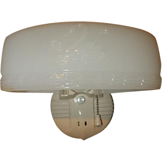 Porcelain Sconce - Embossed Milk Glass Shade with Swan