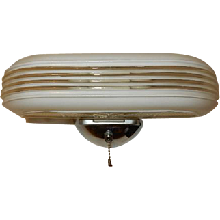Vintage Streamlined Deco 2 Light Bulb Chrome Bathroom Wall Fixture w Pull Chain