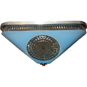 Art Deco BLUE Square Glass Light Fixture Ceiling Chandelier 1940s