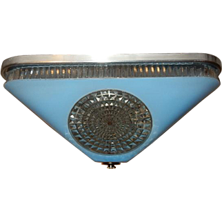 Art Deco BLUE Square Glass Light Fixture Ceiling Chandelier 1940s
