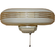 Vintage Streamlined Deco 2 Light Bulb Porcelain Bathroom Wall Fixture w Pull Chain