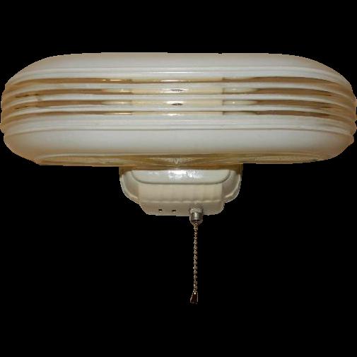 Vintage Streamlined Deco 2 Light Bulb Porcelain Bathroom