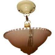 Pink Art Glass Art Deco Shade w Original Navajo White Pendant Fixture