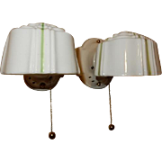 Vintage pair white Art Deco Streamlined porcelain wall sconces with Period Green Pin-striped Embossed shades. Price for pair