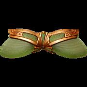 1930s Art Deco 2-Light Slip Shade Chandelier------Green Shades