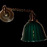 Brass Swing Arm Fairies Architect Lamp w/ Bellova Emeralite Stripped Shade