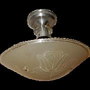 Art Glass Art Deco Shade w Original Polished Aluminum Ceiling Fixture
