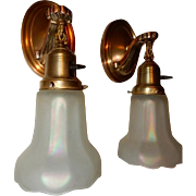 Art Nouveau Brass Sconces w Lightolier Carnival Iridescent Art Glass Shades