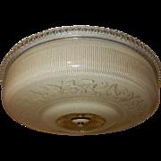 Art Deco Tan Glass Flush Light Fixture Ceiling Chandelier Ca. 1930s