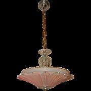Art Deco Ceiling Light Pendant Fixture w Original Pink Sunflower Shade