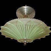 Art Deco Flush Mount Ceiling Light Fixture w Original Green Sunflower Shade