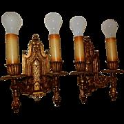 Large Double Arm Tudor Spanish Revival Cast Bronze Wall Sconces - Pr.