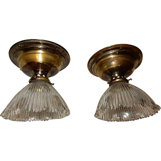 Pr. Thin Ribbed Clear Beaded Glass Shades Simple Arts & Crafts Ceiling Fixtures