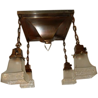 Arts & Crafts Mission Brass Pendant Fixture w Old Greek Key Shades