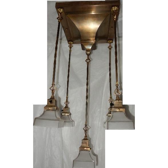 1907 Antique Rod Hung Arts Crafts Lighting Fixture Original Vintage Light Shades