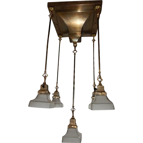 1907 Antique Rod Hung Arts Crafts Lighting Fixture Original Vintage Midwestern Lamp Connection Ruby Lane