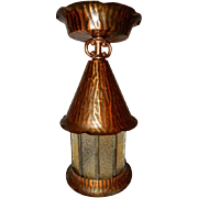 Arts & Crafts Copper with Leaded Glass Porch Light