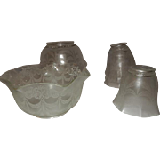 "Set of Four 4"" Silver Etched Gas Shades w Four Matching 2 1/4"" Silver Etched Electric Shades"