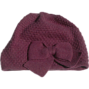 Women's Purple Wool/Cashmere Knit Cap with Stylish Bow