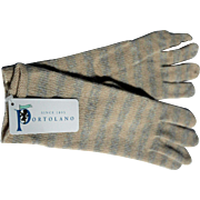 Pale Blue & Cream Striped Long Gloves for Women by Portolano