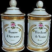 Pair Decorative Old Paris Porcelain Apothecary Jars c.1810-1830