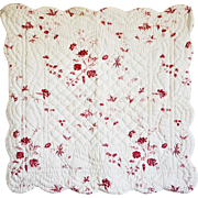 Pair Classic French Toile Quilted Pillow Shams with Rear Ties