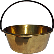 Vintage Brass Jelly Pan with Fixed Iron Handle