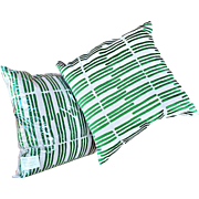 """REDUCED Pair Linen Down-Feather Pillows with Apple Green Hand-Embroidered """"Lines"""""""