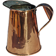 Hand-Worked Solid Copper Pitcher, 19th C