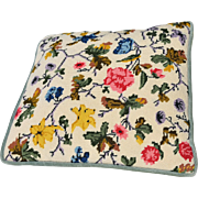 Vintage Floral Needlepoint Pillow with Zippered Blue-Green Velvet on Reverse
