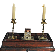 English Regency Inkstand with Drawer, Inkwell & Miniature Candlesticks