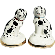 Matched Pair Miniature Staffordshire Dalmatian Figurines