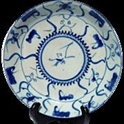 Old Chinese 'Lingzhi & Tea Flower' Blue & White Porcelain Plate