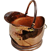 Extra Nice Antique Hand-Wrought Copper Coal Scuttle/Bucket