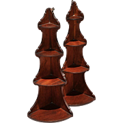 Exceptionally Rare Pair New England Mahogany Corner Shelves, c.1790-1820