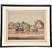"""Edinburgh Express,"" a Mid-19th Century Hand-Colored Coaching Print from Engraving"