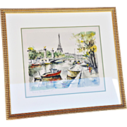 """""""View of Le Pont Alexandre III"""" Vintage Mid-Century Print of Watercolor and Ink Original by G Lelong"""