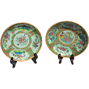 Pair Complementary Rose Canton Shallow Bowls