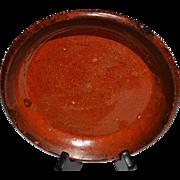 Antique Pennsylvania Glaze Redware Baking Dish or Flowerpot Tray