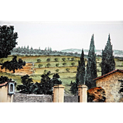 """Campagna Toscana,"" Hand-Colored Etching of a Tuscan Landscape by Gianni Raffaelli"