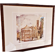 """Iconic Views of Tuscany – Firenze, Basilica San Croce,"" #5 of 6 Colored Prints from a Larger Series by Allessandro Bulli"