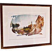"""""""Iconic Views of Tuscany – Pienza, Walkway: Val d'Orcia Overlook"""" #6 of 6 Colored Prints from A Larger Series by Allessandro Bulli"""