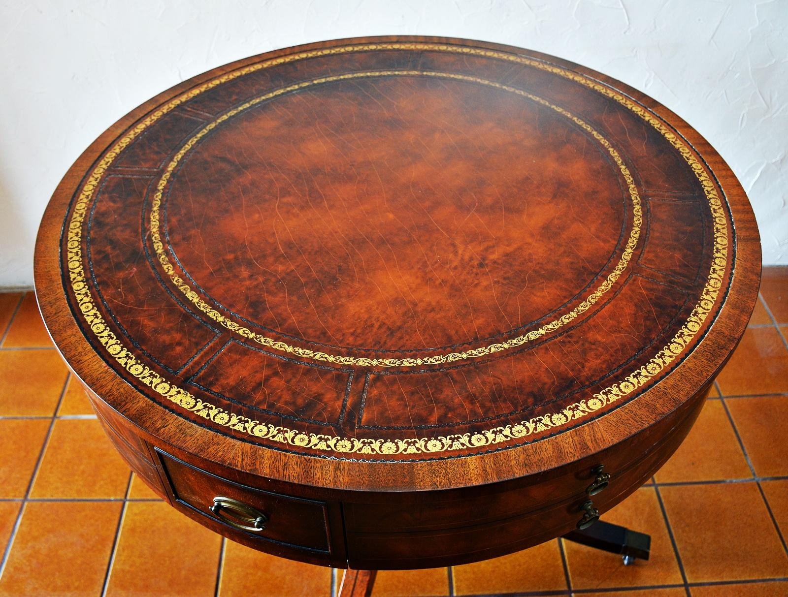 "Heirloom Quality Weiman"" Regency Style Mahogany Drum Table 5037"