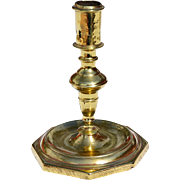 Single Early 18th Century Brass Octagonal Base Candlestick