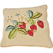 Vintage Hand-Stitched Needlepoint Pillow of Strawberries